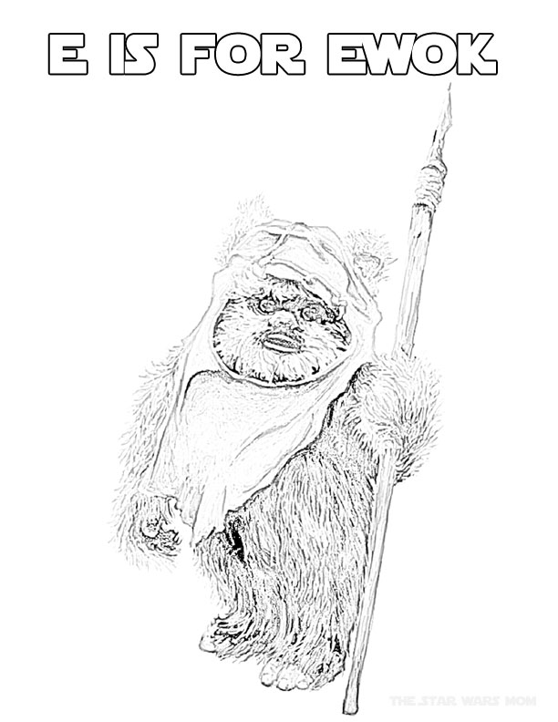 ewok coloring pages star wars alphabet coloring page letter e is for ewok pages coloring ewok