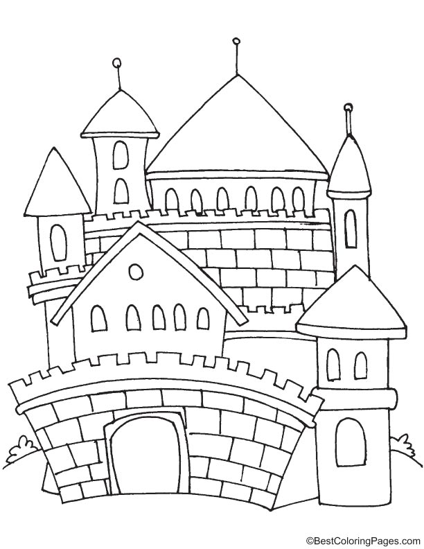 fairy castle coloring pages outline drawing of princesses at the windows of their castle fairy coloring pages