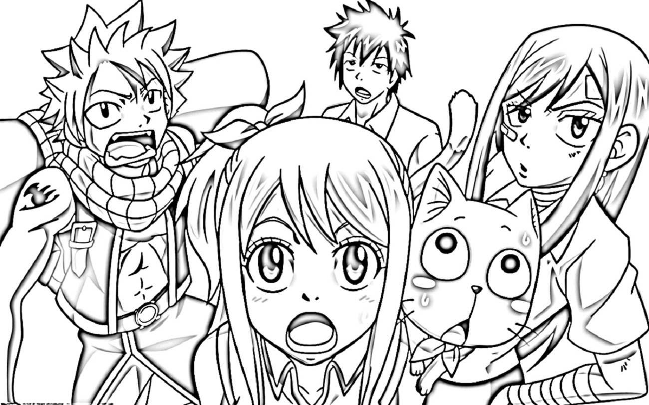 fairy tale anime coloring pages fairy tail team lineart by ishthakdeviantartcom on coloring anime pages tale fairy