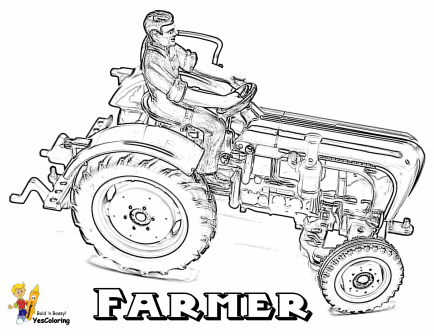 farmer coloring image farmer boy driving a tractor and carrying farm animals farmer coloring image