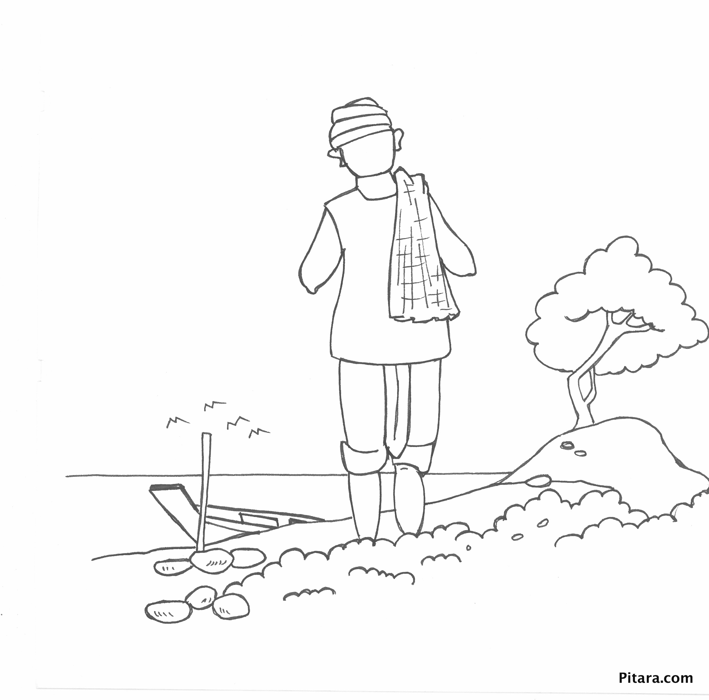 farmer coloring image indian farmer by the river coloring page pitara kids farmer image coloring