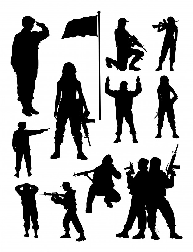 female soldier silhouette premium vector silhouette of female soldier soldier silhouette female