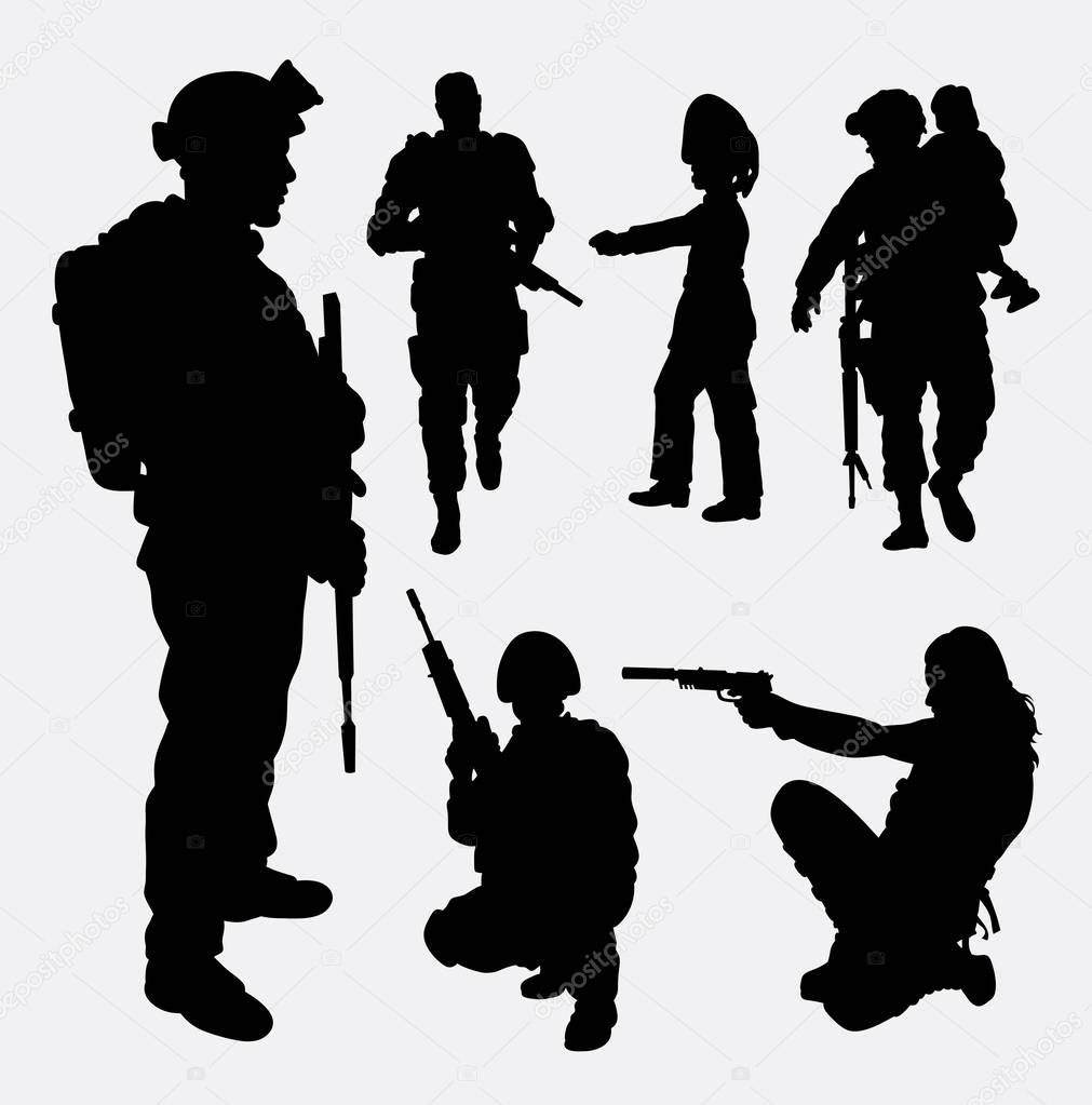 female soldier silhouette soldier military security male and female silhouette soldier silhouette female