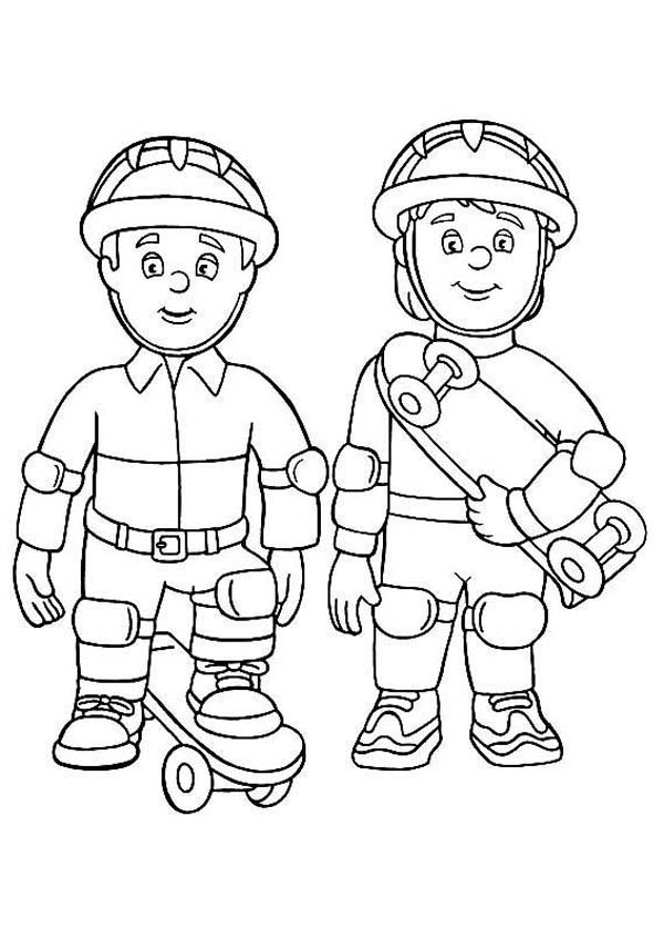 fireman coloring pages fire officer using skateboard at fireman sam coloring page fireman coloring pages