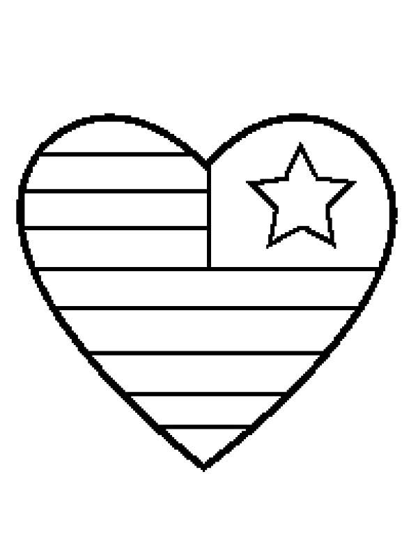 Flag heart coloring page