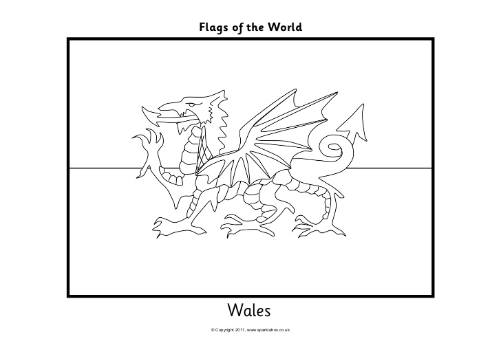flag of wales to colour welsh flag flag coloring pages dragon coloring page wales flag of to colour