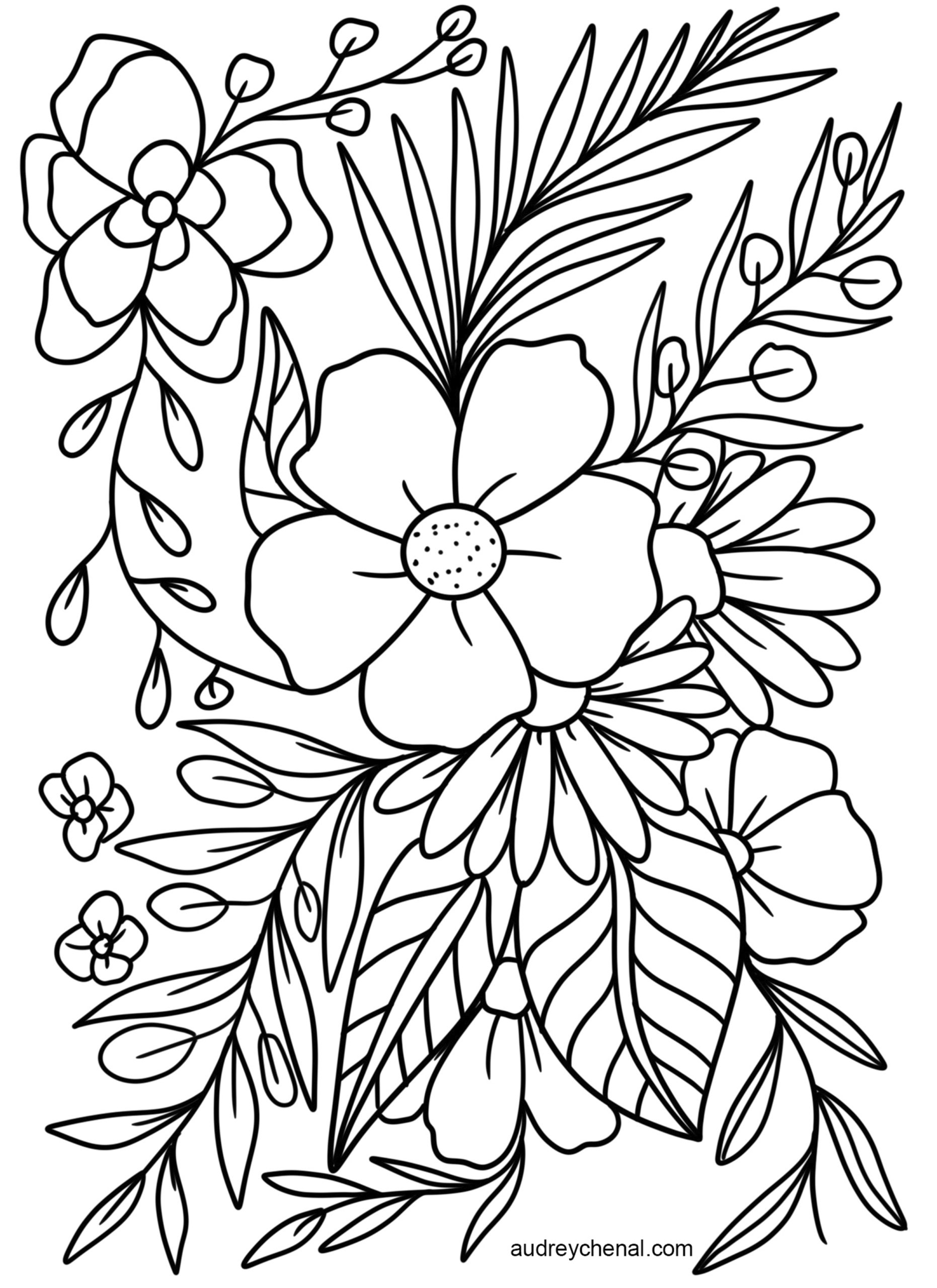 floral coloring pages large flowers coloring pages to download and print for free pages floral coloring