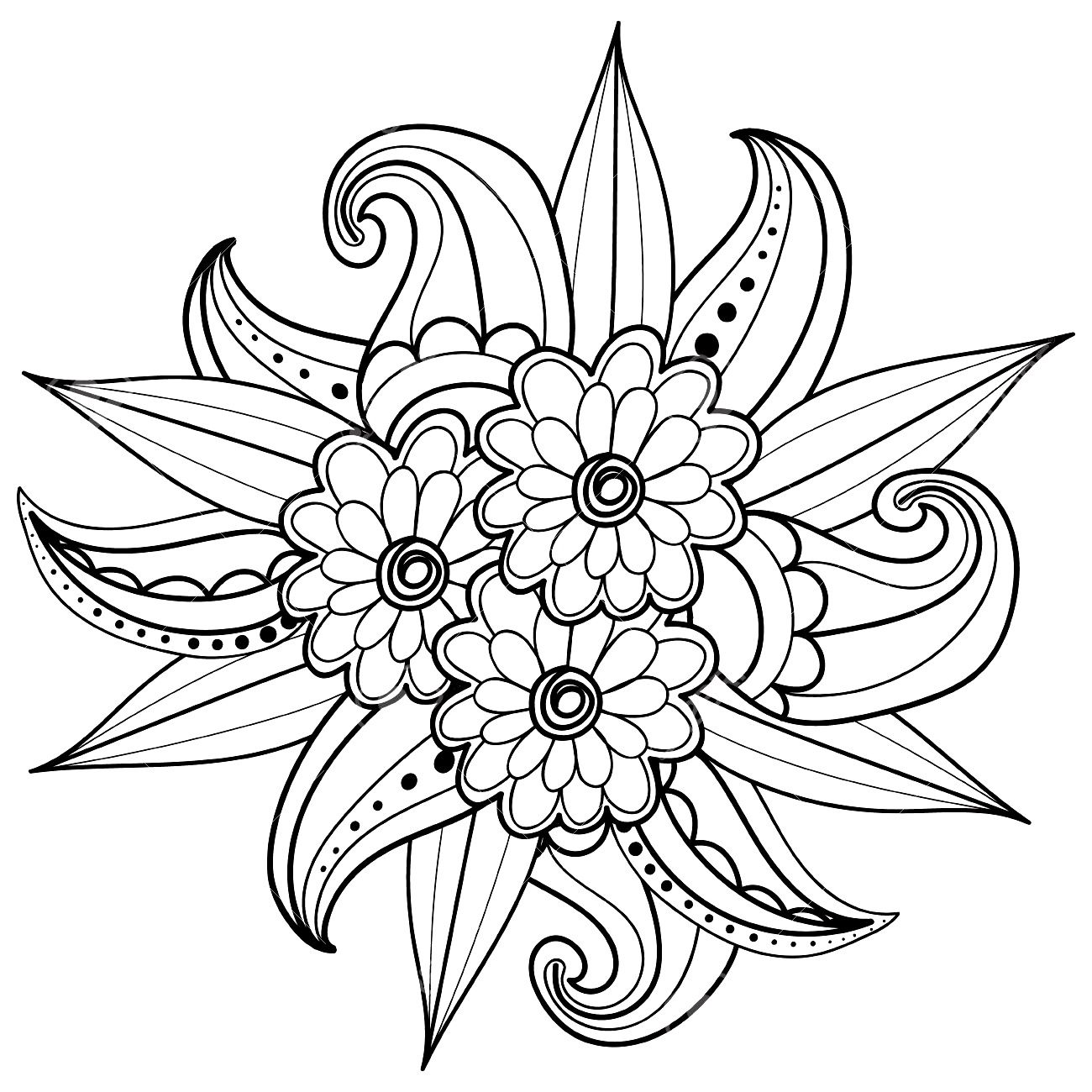 flower doodle coloring pages instant download coloring page flowers art print zentangle doodle pages coloring flower