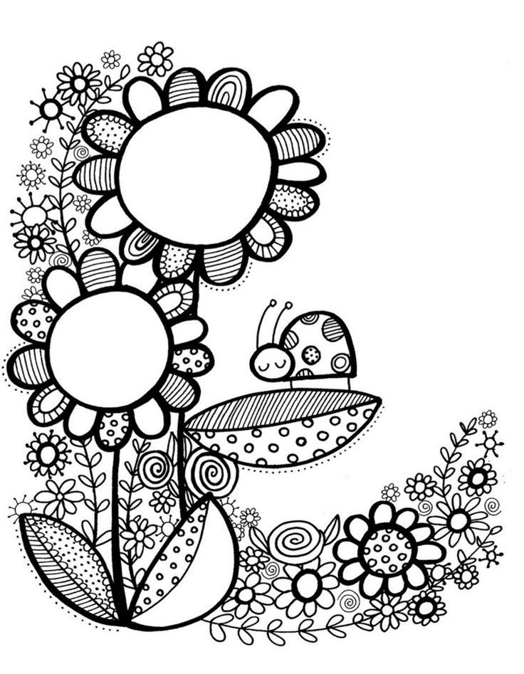 Flower doodle coloring pages