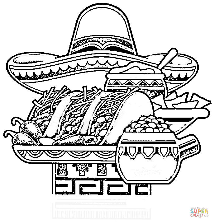 food themed coloring pages mexican national food coloring page free printable coloring pages themed food