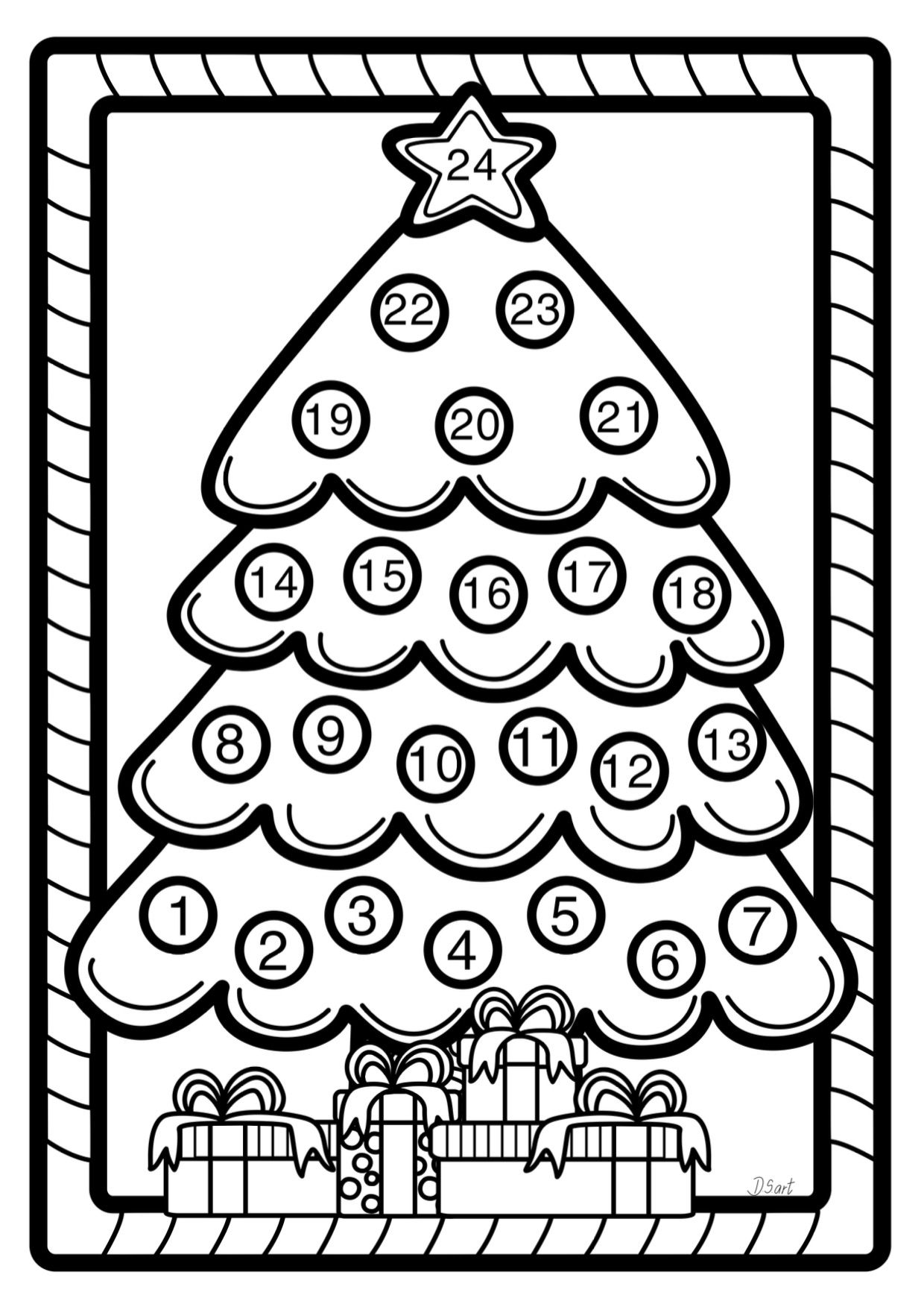 Free advent calendar coloring pages