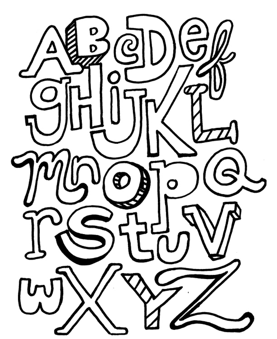 free coloring letters a z alphabet coloring pages download and print for free free coloring letters