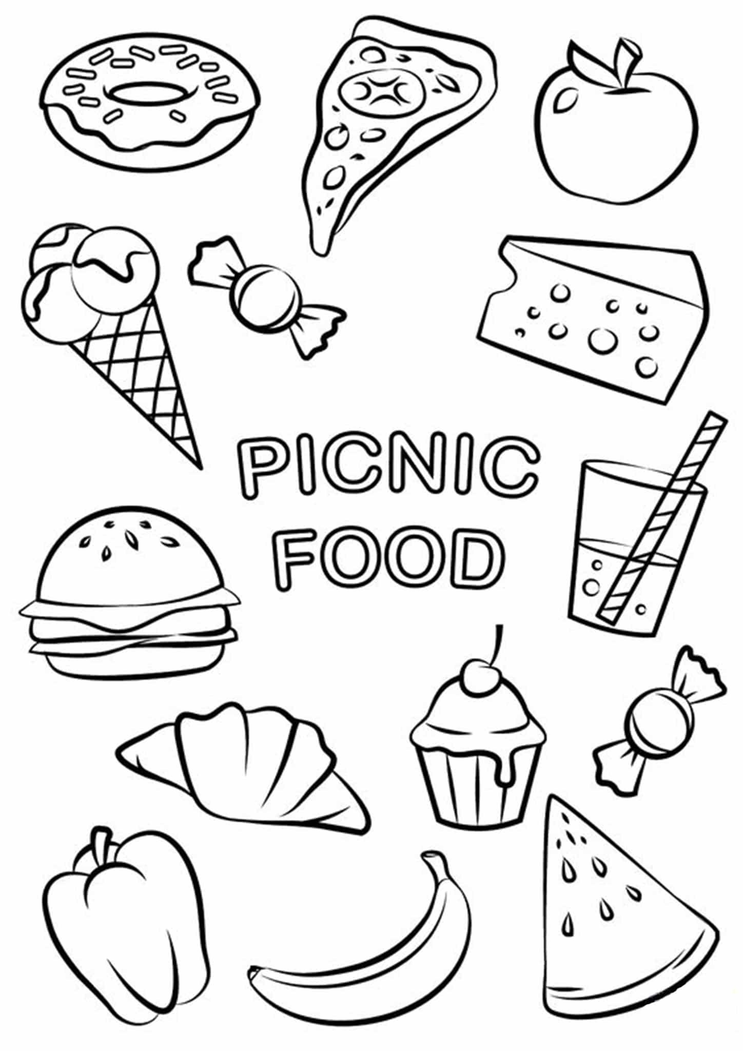 free food coloring pages to print picnic food coloring page free printable coloring pages free pages to print coloring food