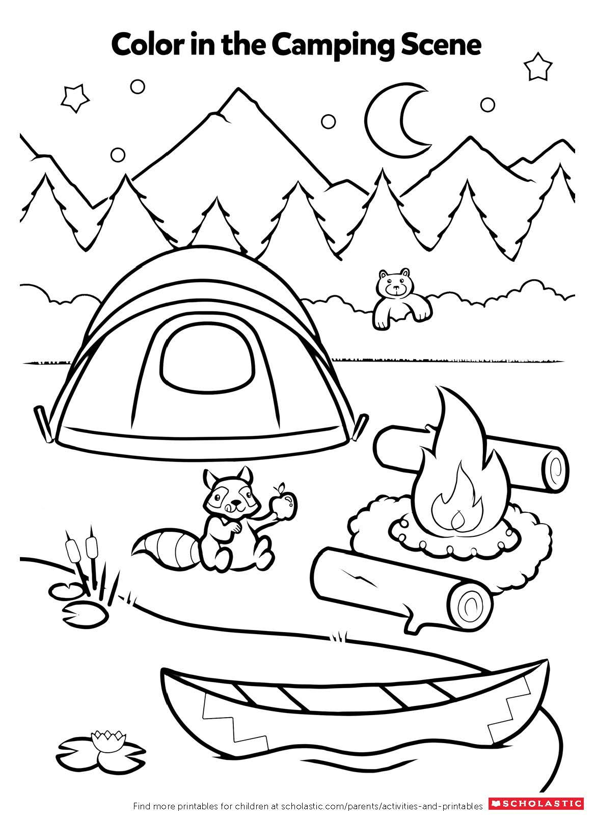 free printable coloring pages for kids camping free coloring and reading page summer fun camping with kids printable pages coloring for camping free