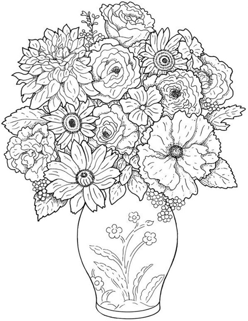 free printable coloring pages of flowers detailed flower coloring pages to download and print for free of printable flowers free coloring pages