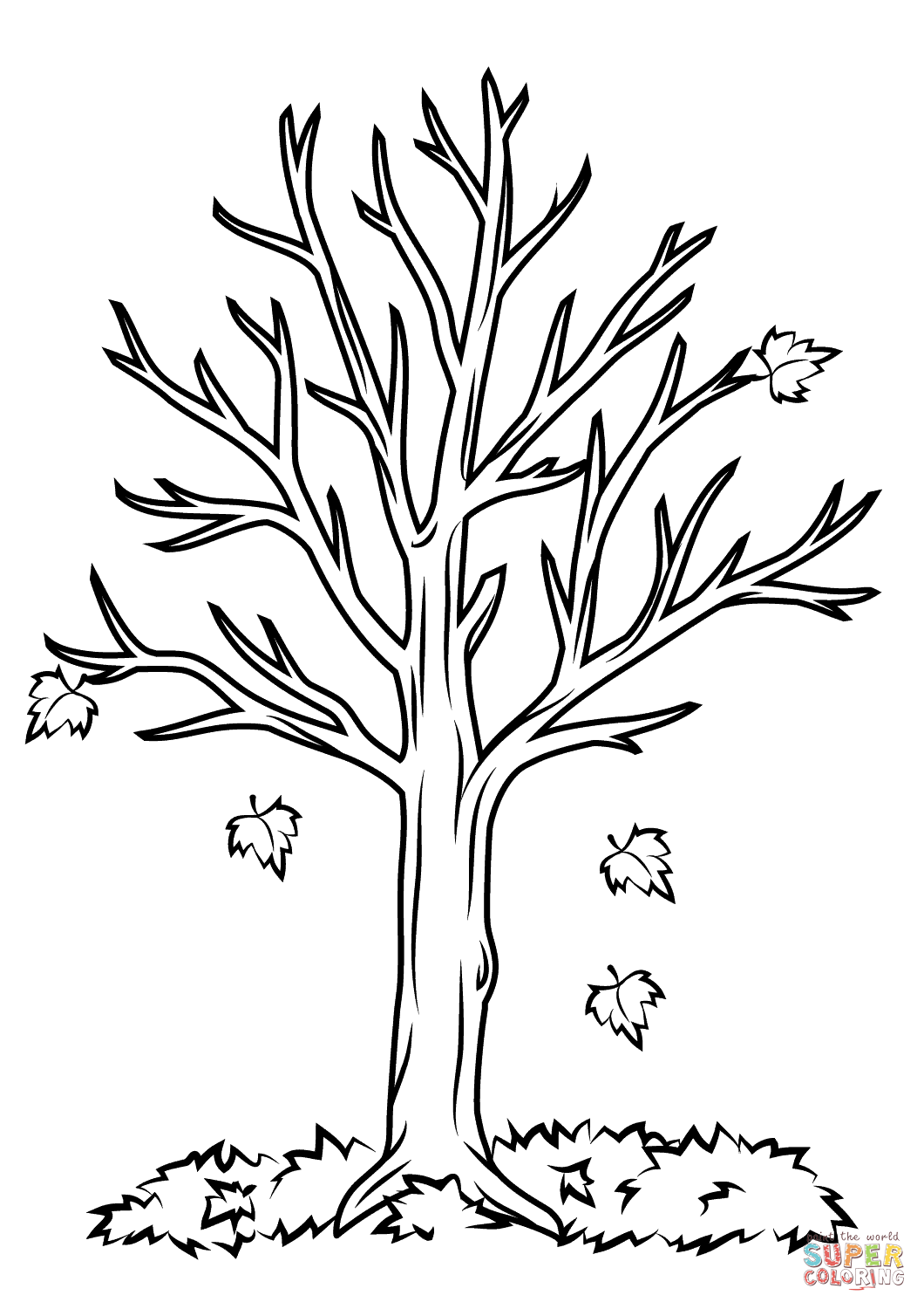 Free printable fall tree coloring pages