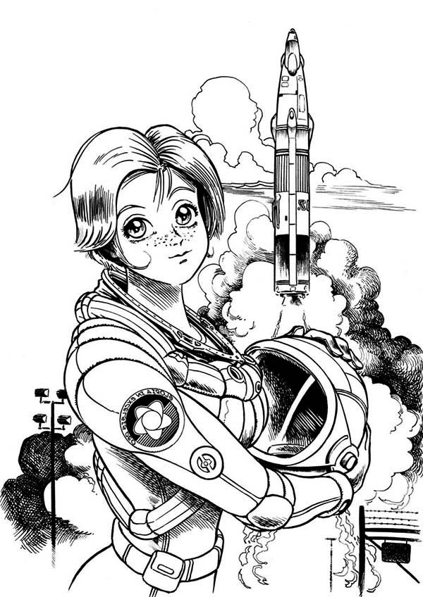 free spaceship coloring pages a beautiful female astronaut on the space center coloring spaceship free coloring pages