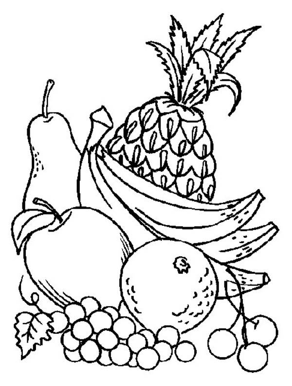 fruit colouring in a pile of fresh fruits coloring page kids play color in fruit colouring