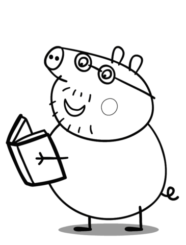 george pig colouring daddy pig reads a book coloring page free printable pig colouring george