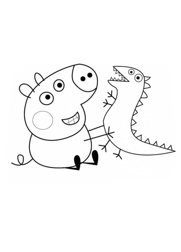george pig colouring peppa pig brother george and his dinosaurus toy coloring pig george colouring