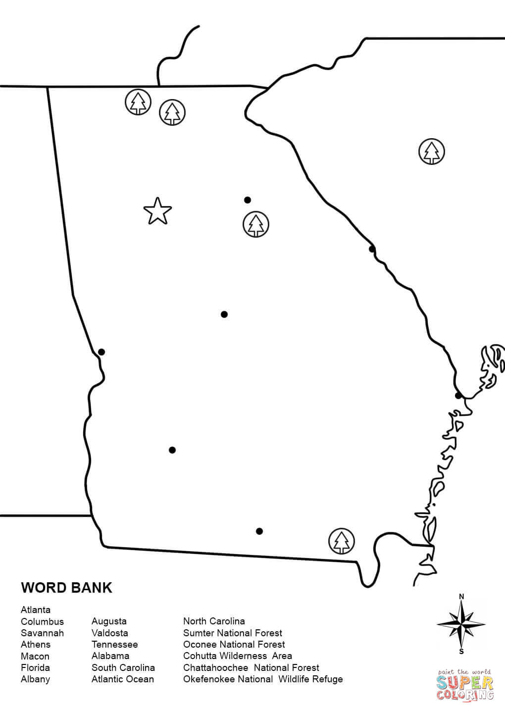georgia map coloring page 16 best maps images on pinterest 50 states cards and map coloring georgia page