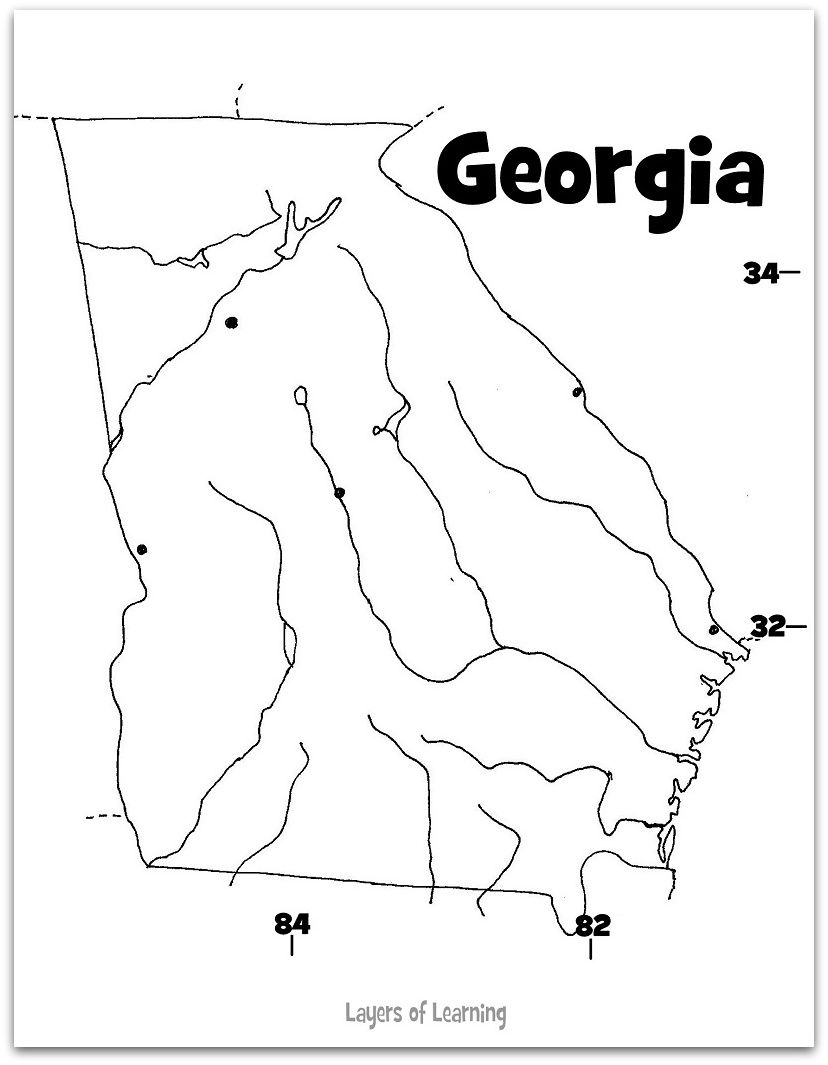 georgia map coloring page blank map outline georgia coloring page at yescoloring georgia coloring map page