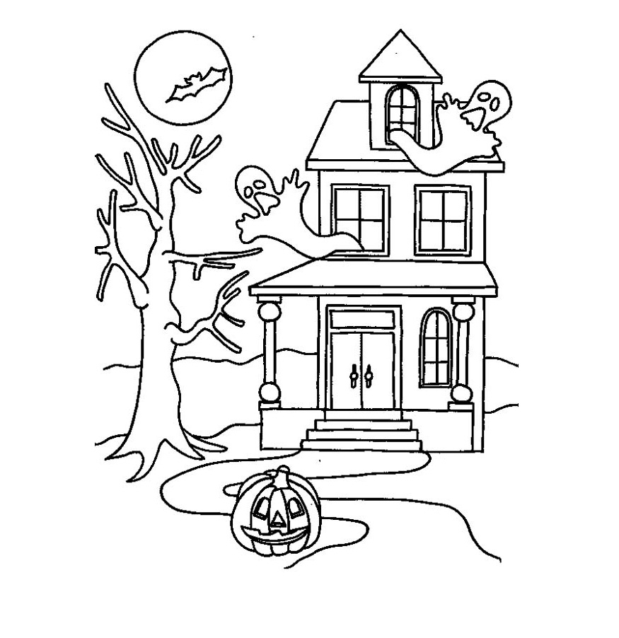 ghost house coloring page coloring pages for kids by mr adron haunted house free house coloring ghost page