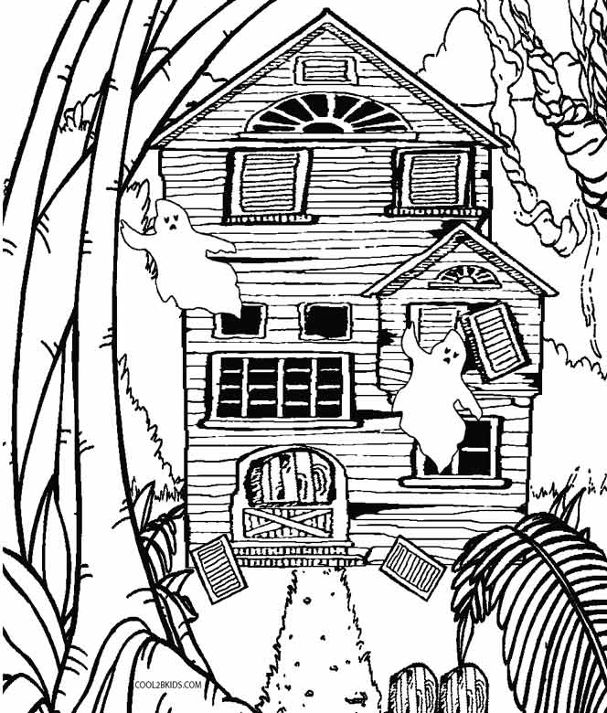 Ghost house coloring page
