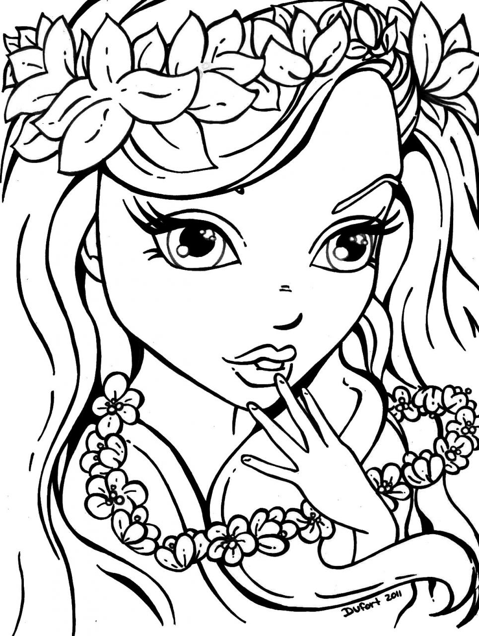 girl for coloring adult coloring page girl portrait and leaves colouring for girl coloring