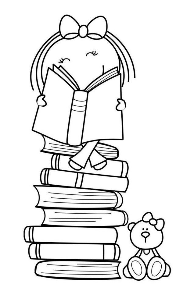 girl reading coloring page girl reading drawing at getdrawings free download reading coloring page girl