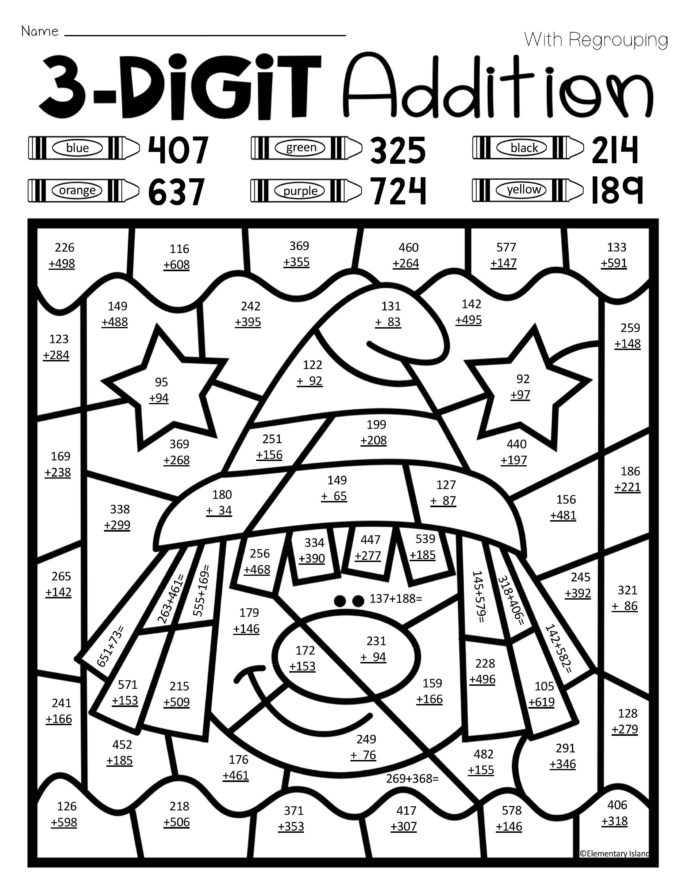 grade 3 math coloring worksheets halloween three digit addition color by number with and 3 worksheets math grade coloring