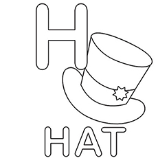 h is for hat h for hat coloring page with handwriting practice for is h hat