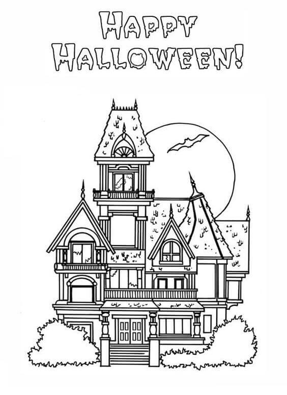 halloween house coloring page halloween coloring pages haunted house part 1 halloween coloring house page
