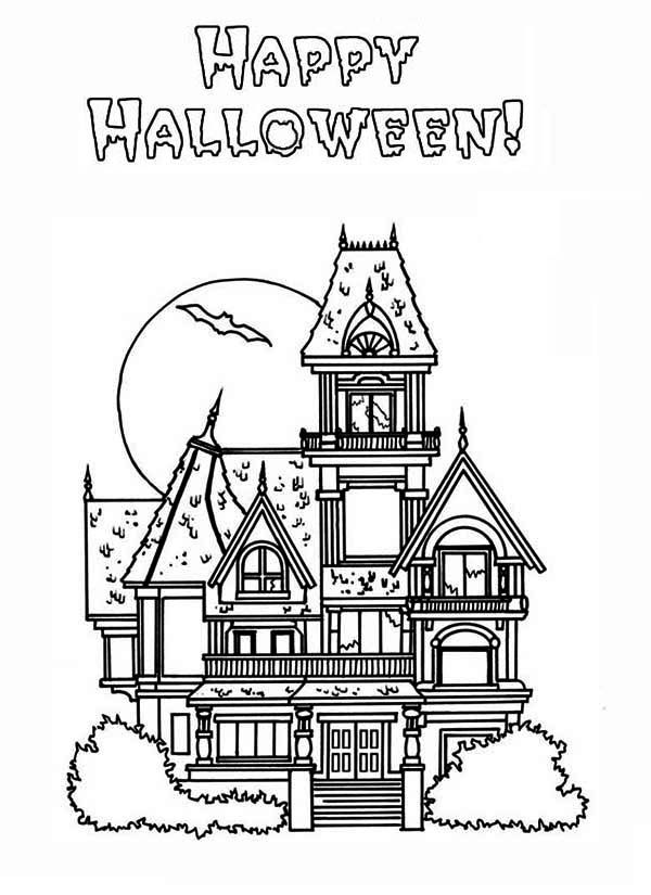 halloween house coloring page happy halloween house coloring page for kids printable page house coloring halloween