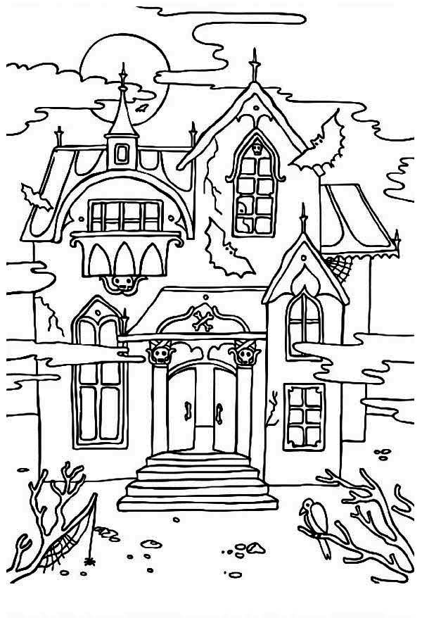 halloween house coloring page haunted house clipart black and white google search house coloring halloween page