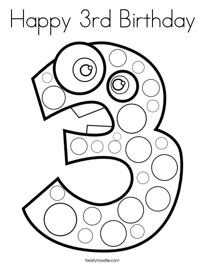 Happy 3rd birthday coloring pages