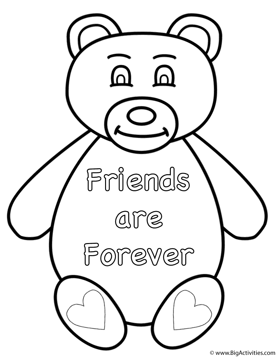 happy friendship day coloring pages teddy bear friends are forever coloring page pages day happy coloring friendship