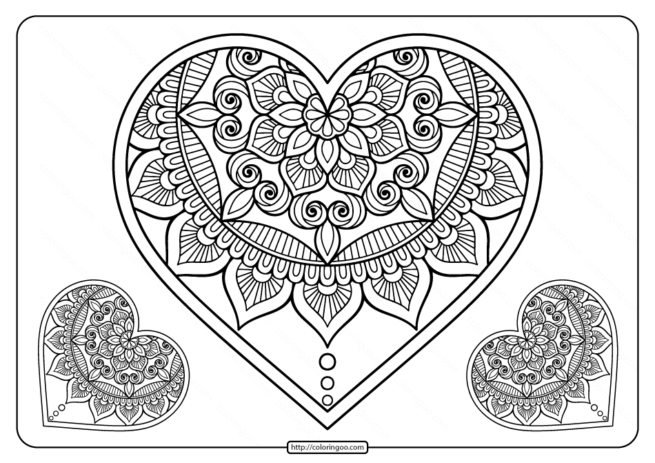 heart color pages free printable mandala hearts pdf coloring page heart pages color
