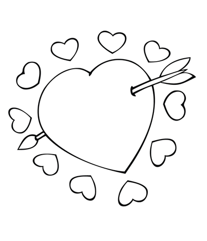 heart with arrow coloring pages cupid arrow through the heart coloring page super coloring coloring arrow with heart pages