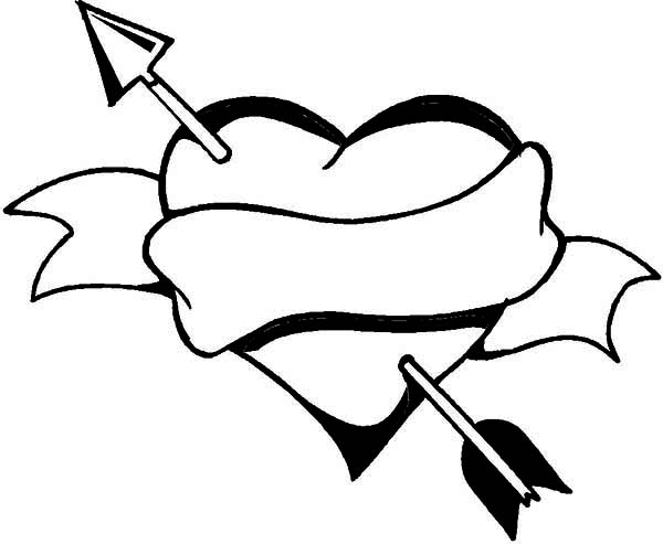 heart with arrow coloring pages cupid arrow through the heart valentine coloring pagesfree pages coloring with heart arrow