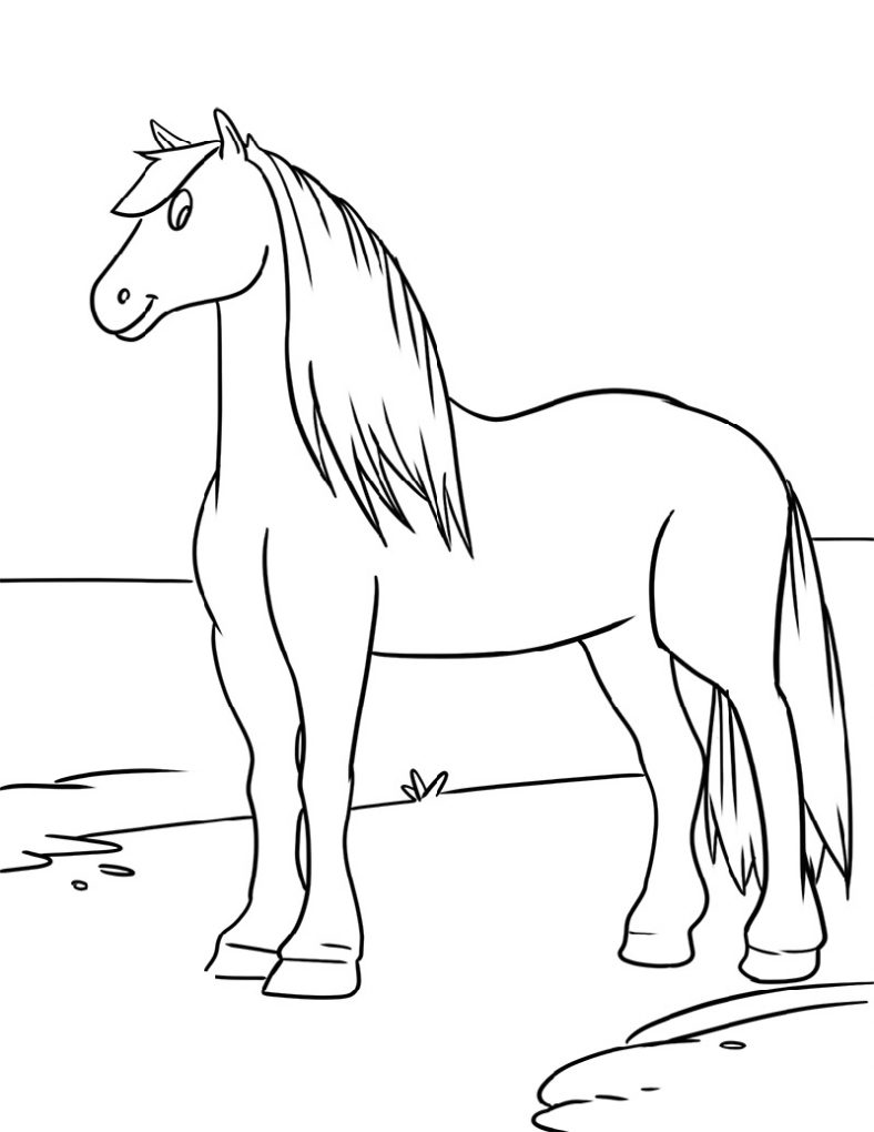 horse drawing coloring pages horse to color for kids simple drawing of galloping drawing coloring pages horse