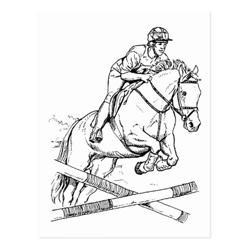 horse show jumping coloring pages horse jumping postcard zazzle jumping horse show coloring pages