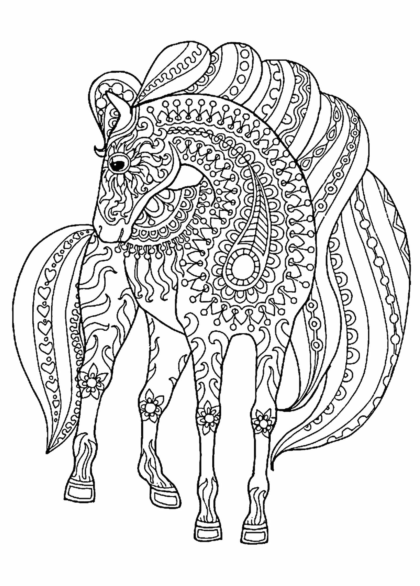 horses to color hand drawn horse for adult coloring page art therapy stock color horses to