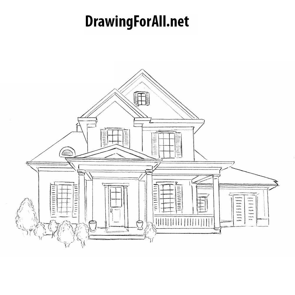 How to draw a big house
