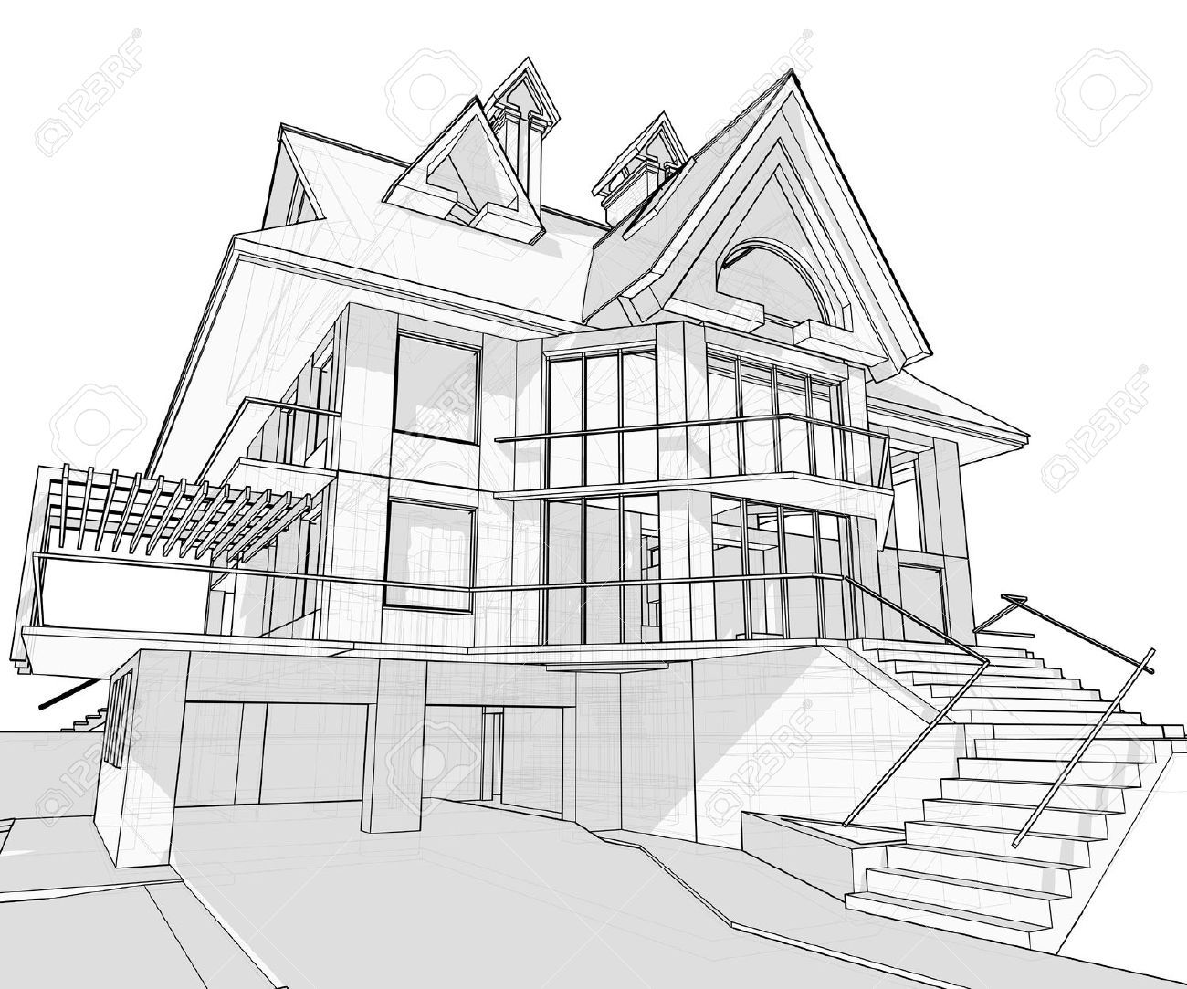 how to draw a big house easy house sketch at paintingvalleycom explore a house how to big draw