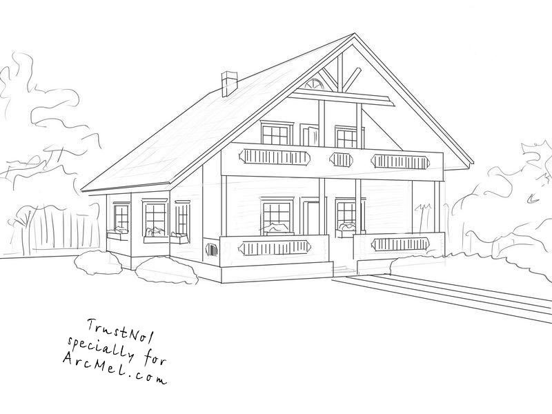 how to draw a big house house home rendering drawing by marty rice a house how draw to big