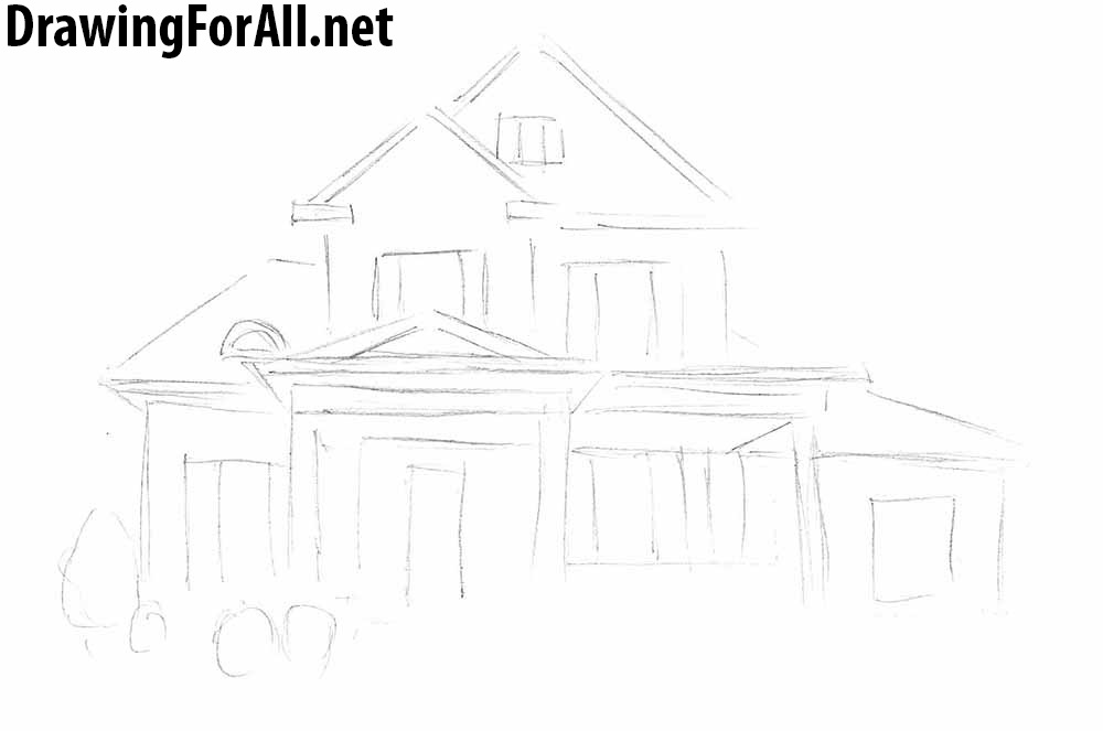 how to draw a big house stick drawing house at getdrawingscom free for personal big how a house draw to