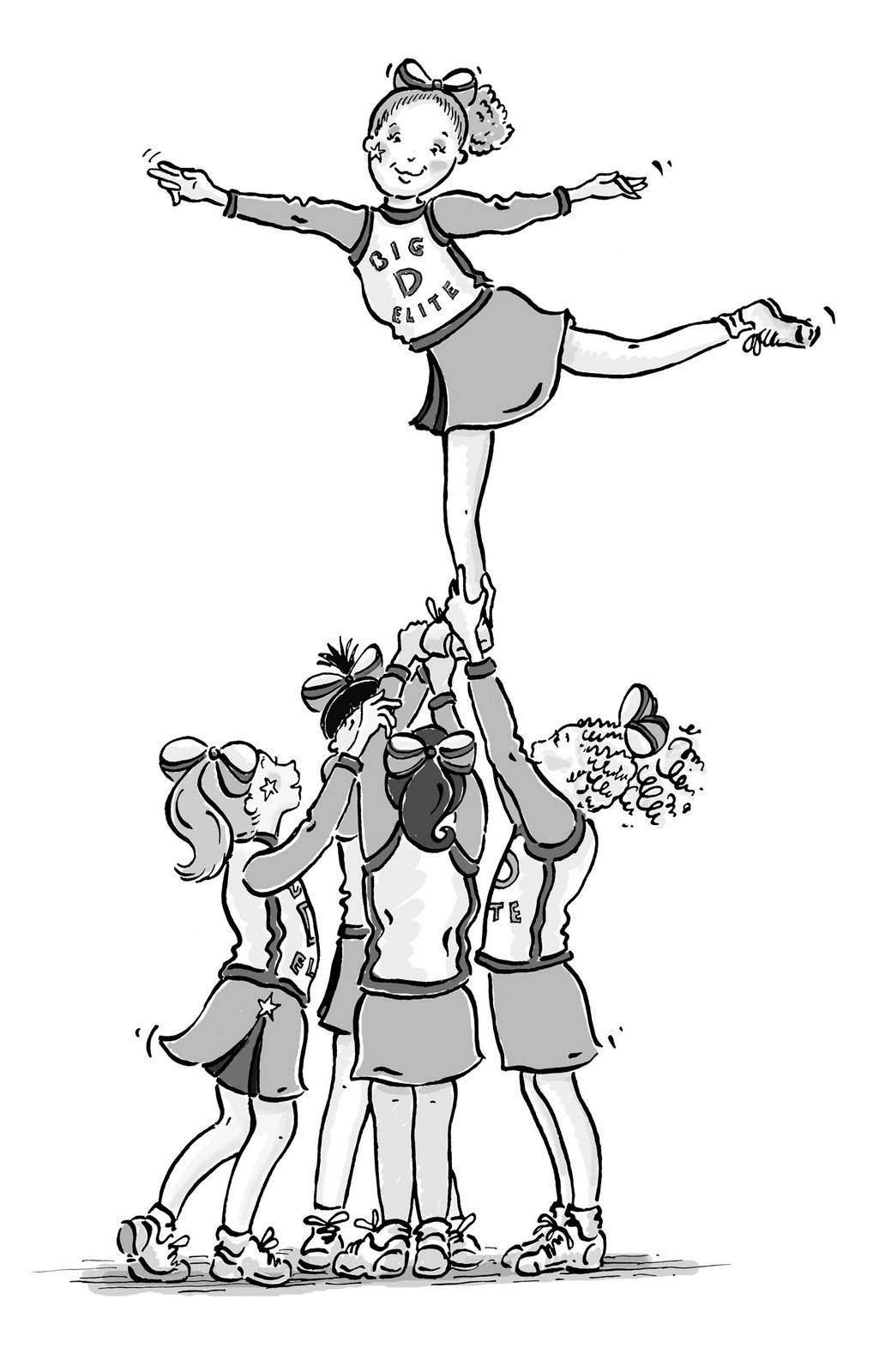 how to draw a cheerleader cheerleading stunt coloring pages free download clip art to a cheerleader draw how