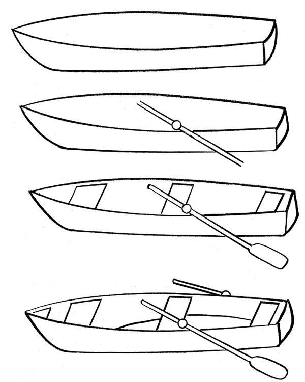 How to draw a fishing boat step by step