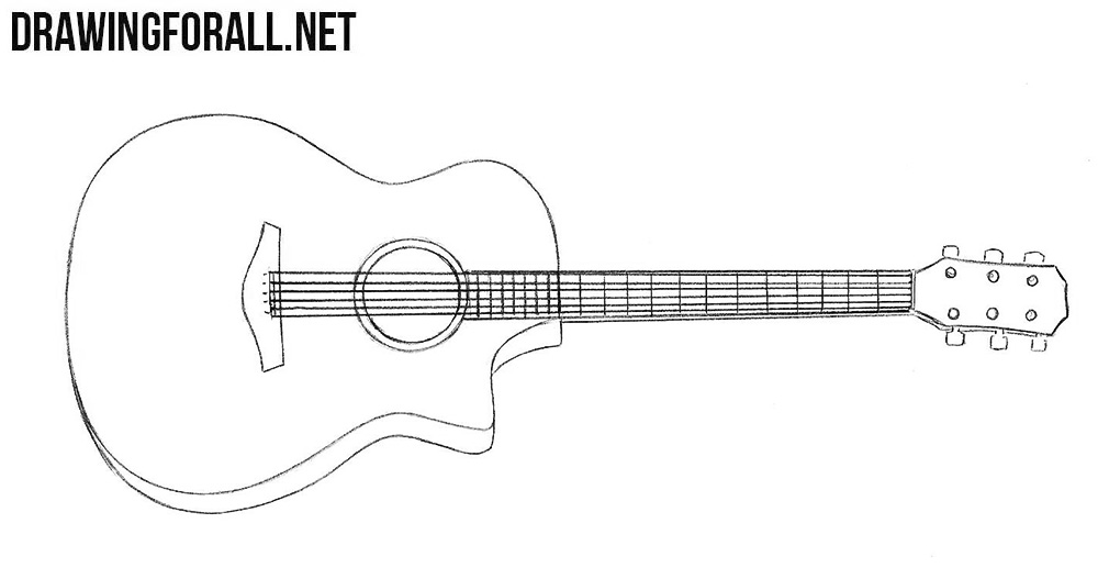 how to draw a guitar how to draw a guitar drawingforallnet to how a draw guitar